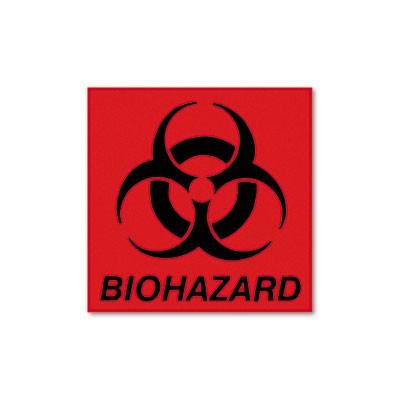 Biohazard Decal, 5-3/4x6, Fluorescent Red