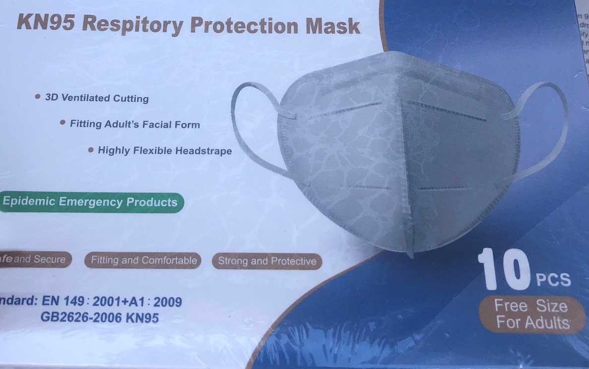 Face Mask GB2626-2006 KN95 EN 149:2001+A1:2009 10 pieces per BX