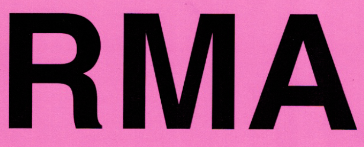 """Label 5x7 Black on Fluorescent Pink """"RMA"""" Removable Adhesive 250/RL"""