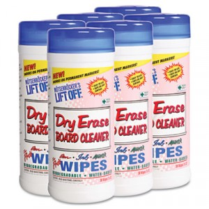 Dry Erase Cleaner Wipes, Cloth, 7x12