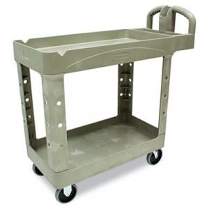 Heavy-Duty Utility Cart, 2-Shelf, 17-7/8w x 39-1/4d x 33-1/4h, Beige
