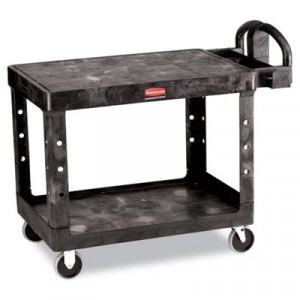 Flat Shelf Utility Cart, 2-Shelf, 25-7/8w x 43-7/8d x 33-1/3h, Black