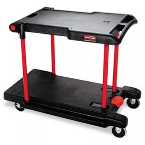 Two Shelf Convertible Utility Cart, 23-3/4w x 45-1/4d x 43-3/4h, Black