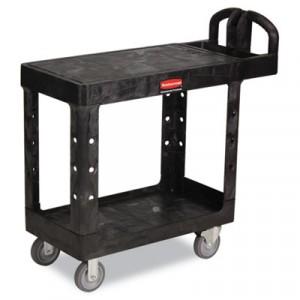 Flat Shelf Utility Cart, 2-Shelf, 19-3/16w x 37-7/8d x 33-1/3h, Black