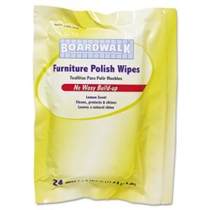 Furniture Polish Wipes, 10x7, Lemon Scent, 24 Wipes/Pack