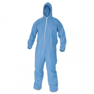 KLEENGUARD A60 Elastic-Cuff & Back Hooded Coveralls, Blue, Large