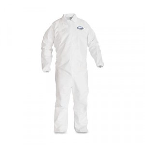 KLEENGUARD A40 Elastic-Cuff Coveralls, White, Large
