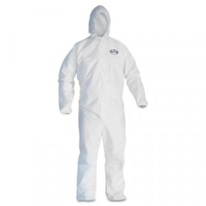 KLEENGUARD A30 Elastic-Back & Cuff Hooded Coveralls, White, X-Large