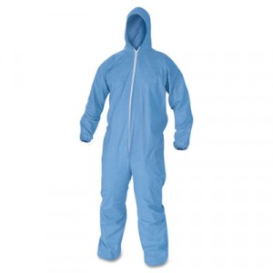 KLEENGUARD A60 Elastic-Cuff & Back Hooded Coveralls, Blue, X-Large