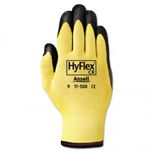 HyFlex Ultra Lightweight Assembly Gloves, Black/Yellow, Size 10 (X-Large)