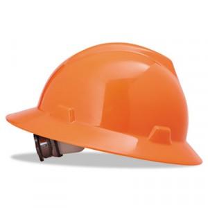V-Gard Hard Hats w/Ratchet Suspension, Standard Size 6 1/2 - 8, High-Viz Orange