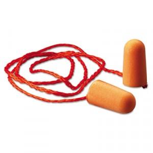 Foam Single-Use Earplugs, Corded, 29NRR, Orange