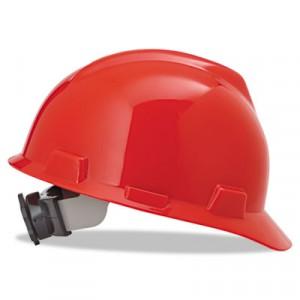 V-Gard Hard Hats w/Fas-Trac Ratchet Suspension, Standard Size 6 1/2 - 8, Red