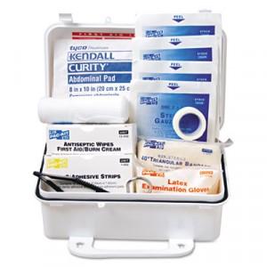 "ANSI Weatherproof Plastic First Aid Kit, 7 1/2"" x 2 3/4"" x 4 1/2"", 10 Person Kit"