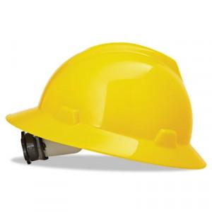 V-Gard Hard Hats w/Fas-Trac Ratchet Suspension, Standard Size 6 1/2 - 8, Yellow