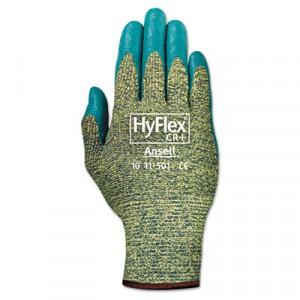 HyFlex 501 Medium-Duty Gloves, Size 8 (Medium), Kevlar/Nitrile, Blue/Green
