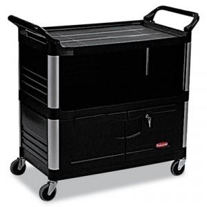 Xtra Equipment Cart, 300lb Cap, 3-Shelf, 20 3/4w x 40 5/8d x 37 4/5h, Black