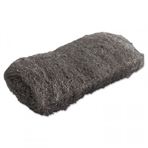 Industrial-Quality Steel Wool Hand Pad, #1 Medium, 16 per Pack