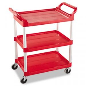 3-Shelf Service Cart, 200-lb Cap., 18 5/8w x 33 5/8d x 37 3/4h, Red