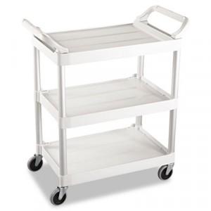 3-Shelf Service Cart, 200-lb Cap., 18 5/8w x 33 5/8d x 37 3/4h, Off-White