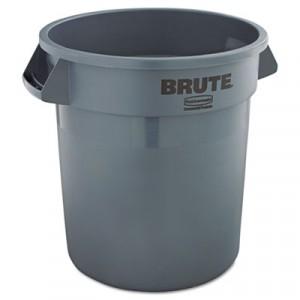 Brute Refuse Container, Round, Plastic, 10 gal, Gray