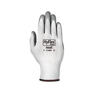 HyFlex Foam Gloves, White/Gray, Size 9 (Large)