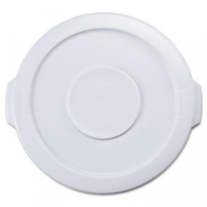 Round Brute Flat Top Lid, 16x1, White