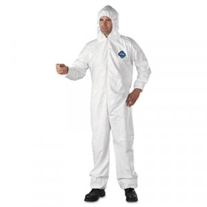Tyvek Elastic-Cuff Hooded Coveralls, HD Polyethylene, White, Size Extra-Large