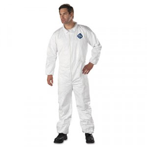 Tyvek Elastic-Cuff Coveralls, HD Polyethylene, White, Size Large