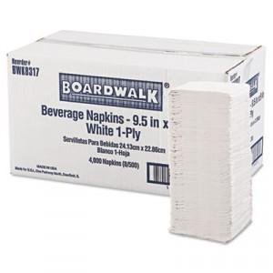 Beverage Napkins, 1-Ply, 9 1/2x9, White