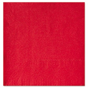 """Beverage Napkins, Two-Ply 9 1/2"""" x 9 1/2"""", Red, Embossed"""