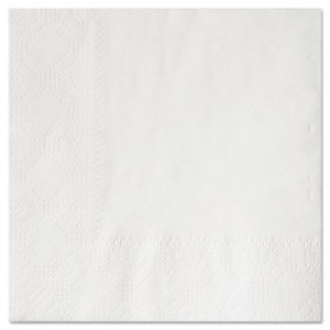 """Beverage Napkins, Two-Ply 9 1/2"""" x 9 1/2"""", White, Embossed"""