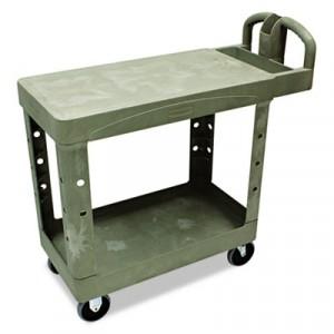 Flat Shelf Utility Cart, 2-Shelf, 19-1/5w x 37-7/8d x 33-1/3h, Beige