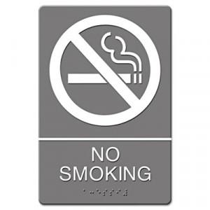 ADA Sign, No Smoking Symbol w/Tactile Graphic, Molded Plastic, 6x9, Gray