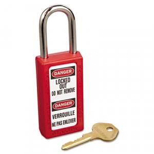 "Lightweight Zenex Safety Lockout Padlock, 1 1/2"" Wide, Red, 2 Keys"
