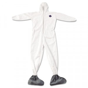 Tyvek Elastic-Cuff Hooded Coveralls With Attached Boots, White, 4X-Large