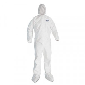 KLEENGUARD A40 Elastic-Cuff Hood & Boot Coveralls, White, 3X-Large