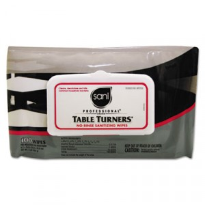 Table Turners No-Rinse Sanitizing Wipes, 8.2x9.8, White