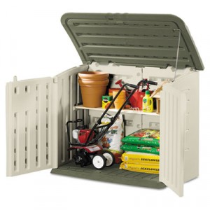 Large Horizontal Storage Shed, 57 in x 32 in x 47 in, Olive/Sandstone