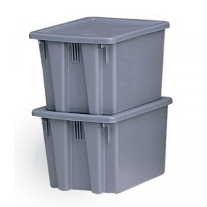 Palletote Box, 9.72gal, Gray