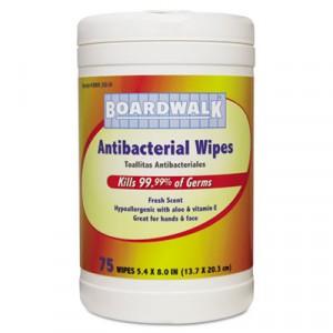Antibacterial Wipes, 8x5 2/5, Fresh Scent, 75 per Canister, 6 per Carton