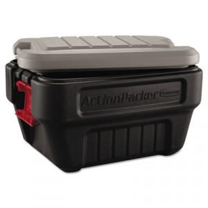 ActionPacker Storage Box, 8gal, Black/Gray