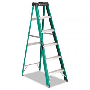 #592 Six-Foot Folding Fiberglass Step Ladder, Green/Black/Yellow
