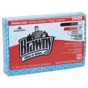 Brawny Dine-A-Wipe Foodservice Towels, 14x21, Blue/White, HYDROKNIT