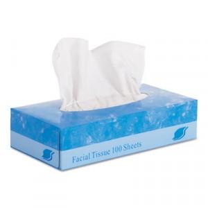 "Facial Tissue, Flat Box, 2-Ply, 8"" x 8.3"", 100/Box"