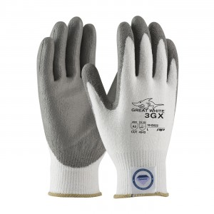 Glove DyneemaLycra White Gray Polyurethane Coated Palm XS 12PR/PKG 12/CS