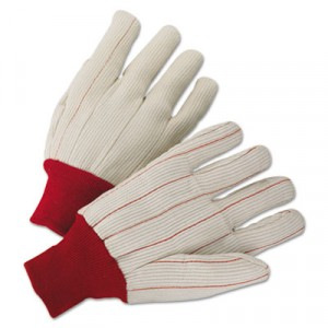 1000 Series Canvas Gloves, White/Red, Large