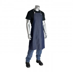 100% Cotton Blue Denim Bib Style Aprons, No Pockets, 28in.x36in.