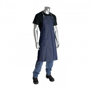 100% Cotton Blue Denim Bib Style Aprons, Two Pockets, 28in.x36in.