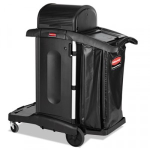Executive High Security Janitorial Cleaning Cart, Black, 23.1Wx39.6Dx27?.5H